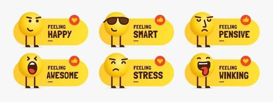 Set of mixed feeling emoji characters standing with text label vector