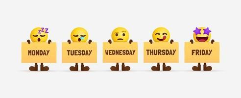 Cute emoji characters holding paper of weekday office workers feeling timeline vector