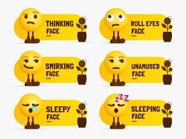Emoji characters standing with text label Set of mixed feeling vector