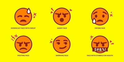Set of six cute pouting emoticons vector
