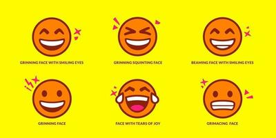 Set of six cute smiling emoticons vector