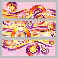 Set of abstract doodle tribal vector cards