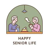 A senior couple is eating coffee and cake at a cafe. flat design style minimal vector illustration.