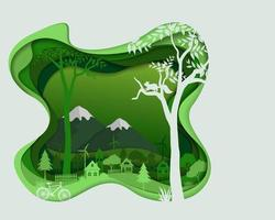 Eco friendly save the environment conservation concept countryside silhouette in green color landscape abstract paper art scene in depth layer background vector