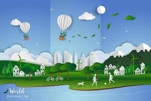 Concept of eco friendly save the world and environment childs playing soccer with white clean city on paper art scene abstract background vector