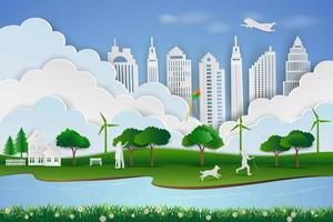 Save the environment and energy concept paper art design of landscape with eco green city child happy when playing kite with dog and family vector