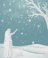 Concept of love in winter season on paper art scene abstract background couple standing on snow with dog for holiday celebration party Christmas or new year vector