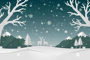 Paper art landscape with deer family and snowflakes in the forest icons of winter season abstract background vector