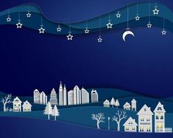 Landscape with urban city in white paper art design architecture building with stars and moon on night scene background vector