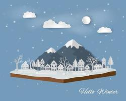 Isometric landscape with countryside in winter season abstract paper art design with white village on soft blue background vector