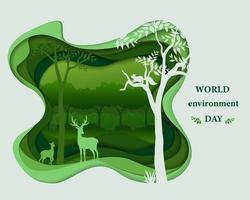 Eco friendly save the environment conservation concept deer family silhouettes in forest landscape abstract paper art scene in depth layer background vector