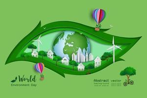verde ecológico salvar el mundo y el medio ambiente concepto arte en papel y diseño artesanal con fondo en forma de hoja vector
