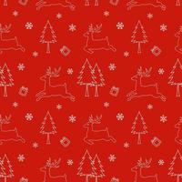 Seamless pattern of winter season christmas design on red background for holiday celebration party new year print or wrapping paper vector