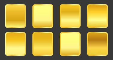 Set of yellow gold metallic gradients vector