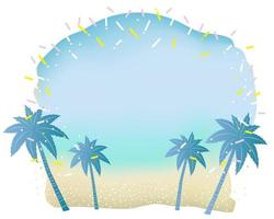 Tropical Beach Background With Palm Trees And Text Space Isolated On A White Background vector