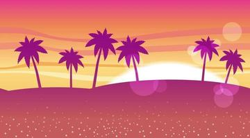 Tropical Beach Background At Sunrise Or Sunset With Text Space vector