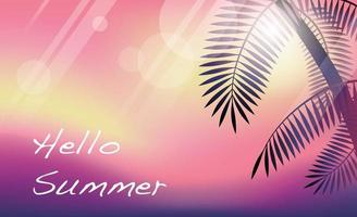 Sunset Tropical Resort Concept Vector Background With Palm Tree Silhouette And Text Space