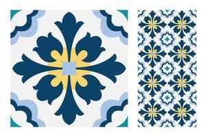 patrones de azulejos vintage antiguo sin costura vector