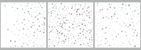 Silver glitter stars falling from the sky on white background vector