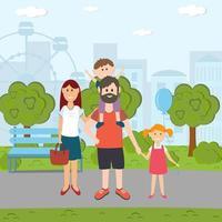 Family walks in the Park vector