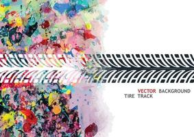Colorful tire track on white background vector
