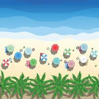 Vector illustration Sunny beach view from above