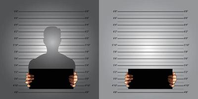 Police background measuring lines mugshot in international decimal standard and banner on two hands vector