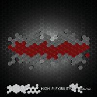 Vector  3Ds hexagon block align to many shape