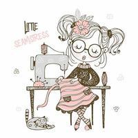 linda chica costurera cose en un vector de estilo doodle de vestido de máquina de coser