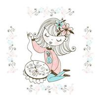 A cute girl is engaged in needlework and embroidery a beautiful pattern on a Hoop Vector