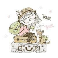Cute girl tourist with a backpack sitting on suitcases with her dog Vector
