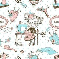 Seamless pattern with cute little dressmaker and sewing accessories Vector