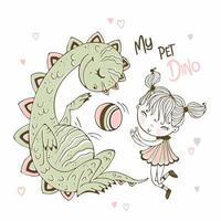 linda niña jugando a la pelota con su vector de dinosaurio mascota