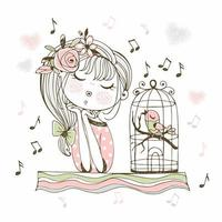 A cute girl listens to her bird singing in a cage Vector