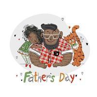 tarjeta del día del padre para las vacaciones papá con su hija y un gato color de piel oscura vector