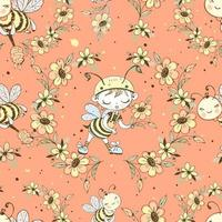 Seamless pattern with cute honeybeesVector vector