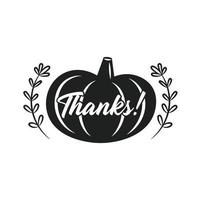 Feliz día de acción de gracias etiqueta adhesiva decoración de la cocina otoño noviembre vacaciones calabaza vegetal con hierbas y letras silueta negra plantilla de corte vector