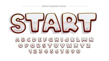 tipografía de dibujos animados redondeados metálicos cromados vector