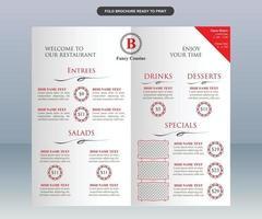 Modern Elegant White and Red Restaurant Menu vector