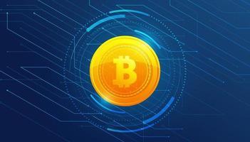 Bitcoin dorado sobre fondo azul diseño de plantilla de banner vector