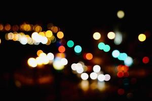colorful bokeh lights at night in the city photo