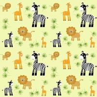 Seamless background with wild animals Vector illustration