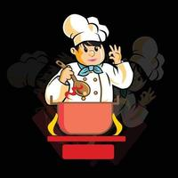 Chef Cooking Mascot Logo Template vector