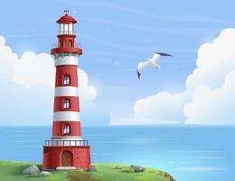 Lighthouse at sea on a sunny day. Lighthouse on a rock vector illustration