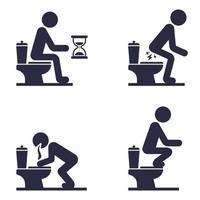 conjunto de iconos de un hombre sentado en el inodoro. un hombre con problemas de estómago vector
