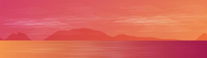 Panorama Beautiful Sea on landscape background, sunshine and sunset concept design vector