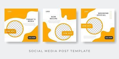 Food menu banner social media post. Editable social media templates for promotions vector