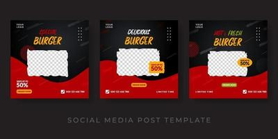 Burger menu promotion social media banner template. Red and black background design vector