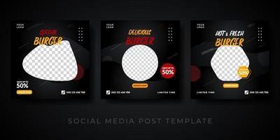 Burger square banner for social media vector