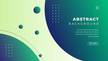 Abstract gradient with rounded shape in green and blue color. Minimalist landing page background design. vector